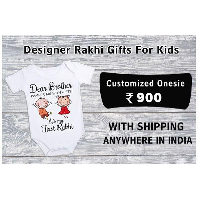Personalised Rakhi Gifts for Brother Sister, Customized Onesie, Rakhi t-shirt Gift Hamper India