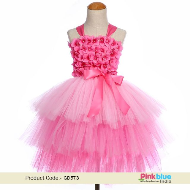 Baby Girl first Birthday Tutu Dress - Toddler Pink Flower Girl Dress – Kids Party Dress online