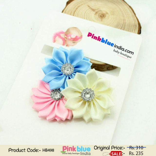 Pink, Blue and Off-White Flowers Hair Band for Infant Babies with Diamond Embellishments