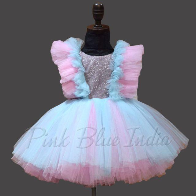 Pink and Blue Short Dress, Knee Length Baby Girl Dress Online