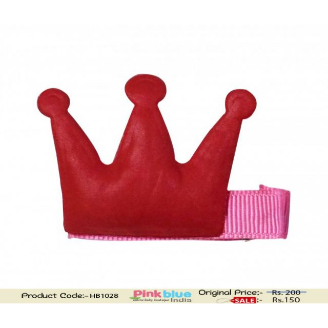Pink Hair Clip with Red Crown Motif for Cute Baby Girls in India