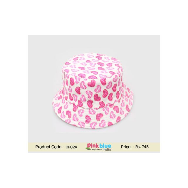 pink printed baby hat
