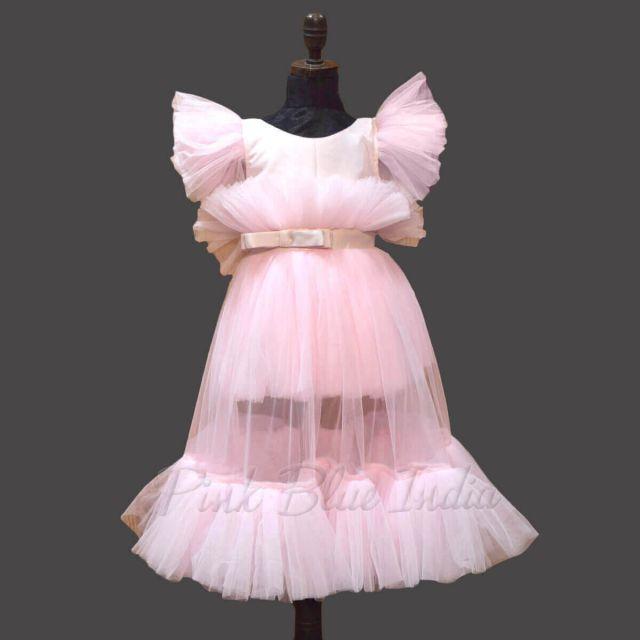 Ankle Length Girls Pink Long Western Dress