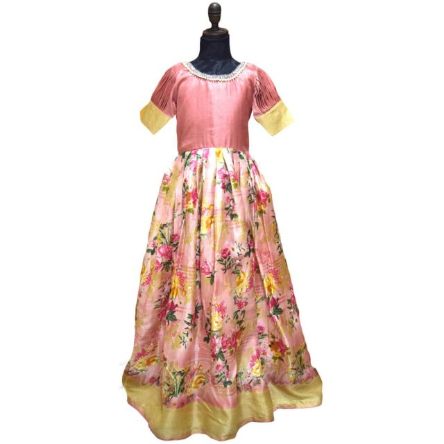 Baby Girl Party Wear Pink Pleated Dress, Designer Kids Gown