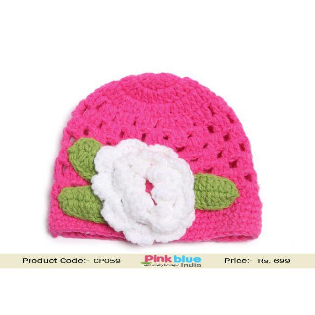 pink baby woolen cap