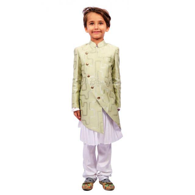 Pista Green Kids Kurta Pajama, Boys Party Wear Outfit