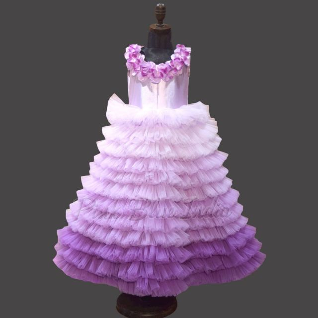 Kid Girl Purple Ombre Layered Couture Party Wear Gown Online