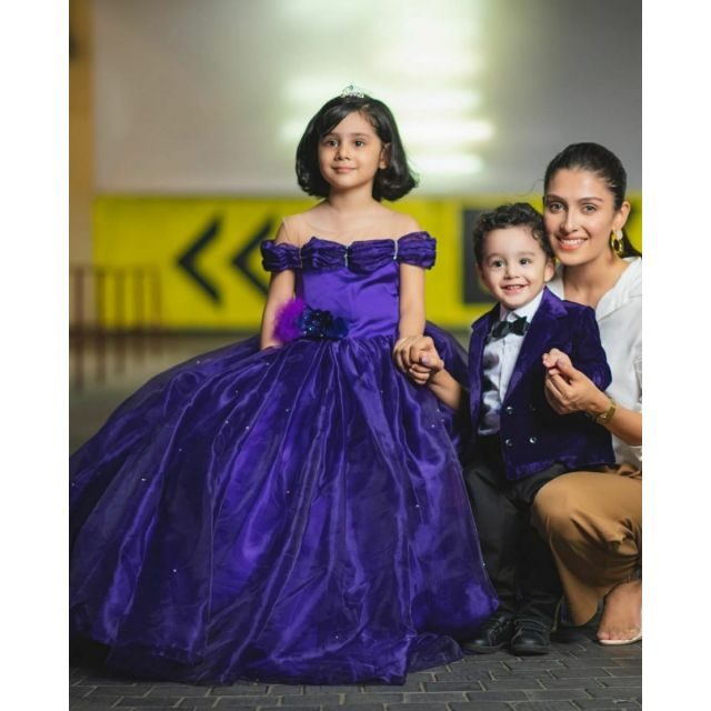 Purple Princess Off Shoulder Tail Dress, Birthday Party Gown