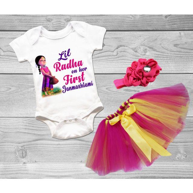Baby Girl Radha Dress, Baby Radha Outfit, Janmashtami Onesie online