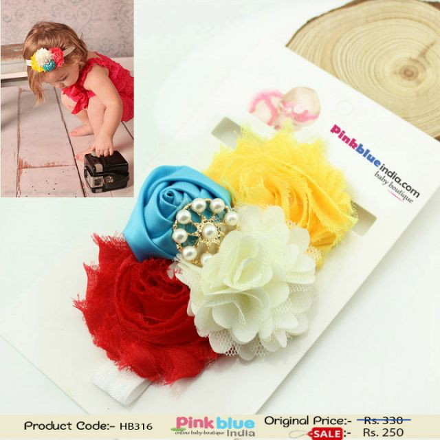 Rainbow Color Flower Hair Band for Toddlers in India