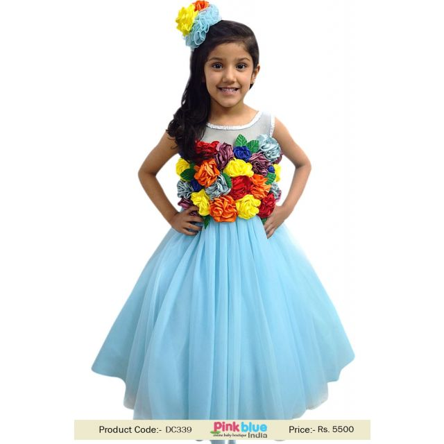 Baby Girl Rainbow Themed 1st Birthday Party Gown Dress – Kids Rainbow Outfit Toddler