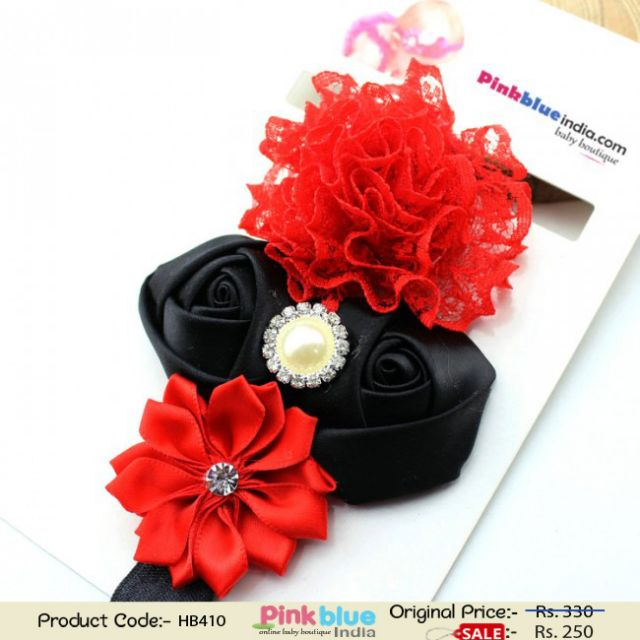 Glamorous Red and Black Infant Flower Headband for Indian Girls