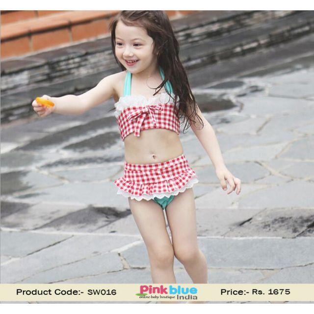 Childrens 3 Piece Red and White Checks Bathing Swimwear Suit Baby Girl
