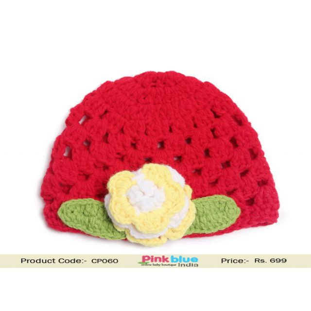 red crochet baby floral cap
