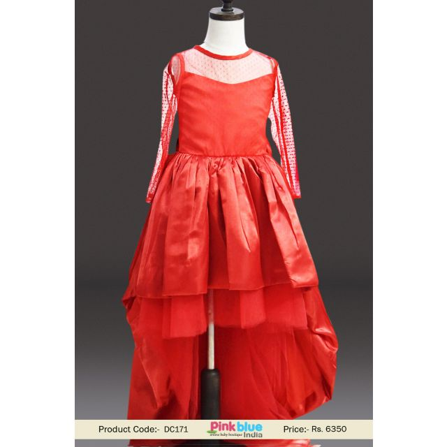 Princess Red High Low Birthday Party Dress   Kids Wedding Outfits