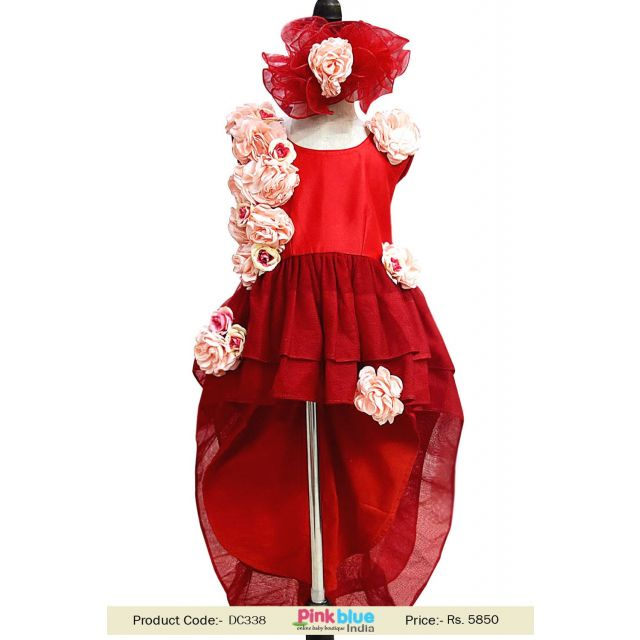 Little Girl High Low Pageant Dress Red color 1st Birthday Couture Dress