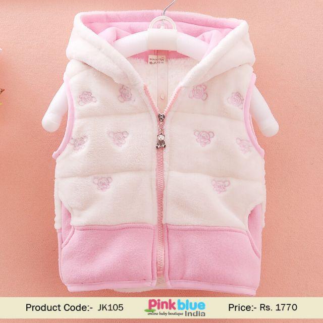 Baby Girl Half Sleeve Winter Jacket, Hooded Kids Sleeveless Vest, warm Jacket