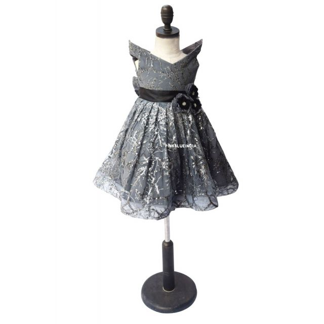 Buy Silver & Gray Flower Girl Dress, Girls Birthday Party Dress Online India