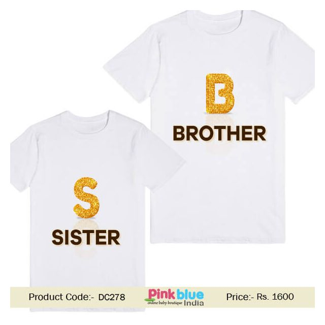 personalized Sister Brother Custom printed Matching Tee T-shirt India