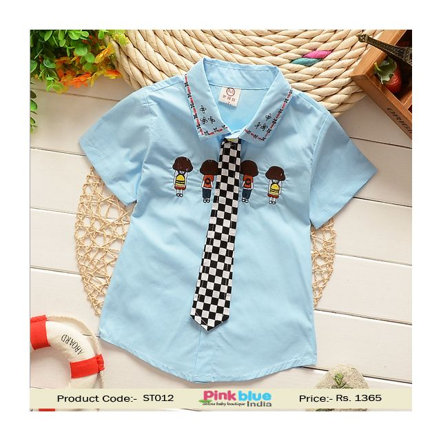 Sky Blue Short Sleeve Birthday Party Tie Shirt Toddler and Baby Boys