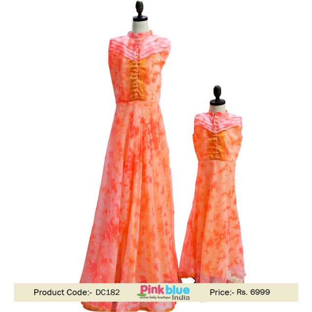 Mother Daughter Maxi Gown Dress Peach Mommy and Daughter Matching outfit