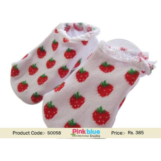 strawberry print baby socks