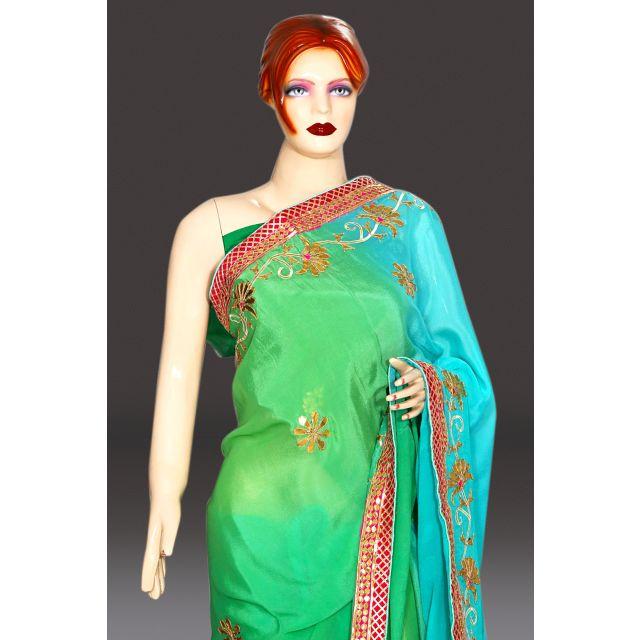 designer chinon ethnic traditional wedding saree online India