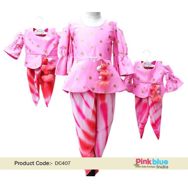 Baby Girl Ethnic Dhoti Pants with Peplum Top, Exclusive kids Designer indian festive Wear