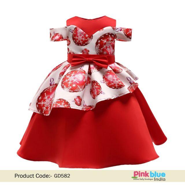 Girls Red Dress - Trendy Red Off Shoulder Party Dress for Kids