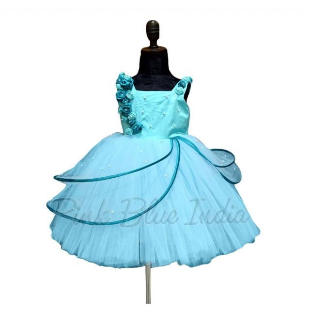 Buy Turquoise Wings Party Wear Dress, Girls Birthday Gown online