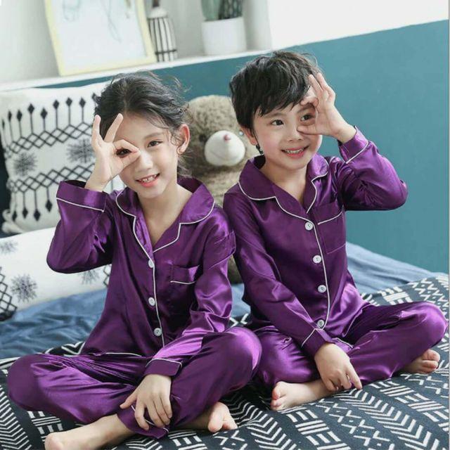 Purple Satin Kids Pyjama Set, Child Boys Girls Nightwear India