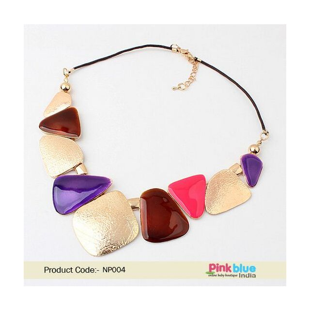 intage Costume Necklace in Golden Motif with Purple, Maroon and Pink Beads