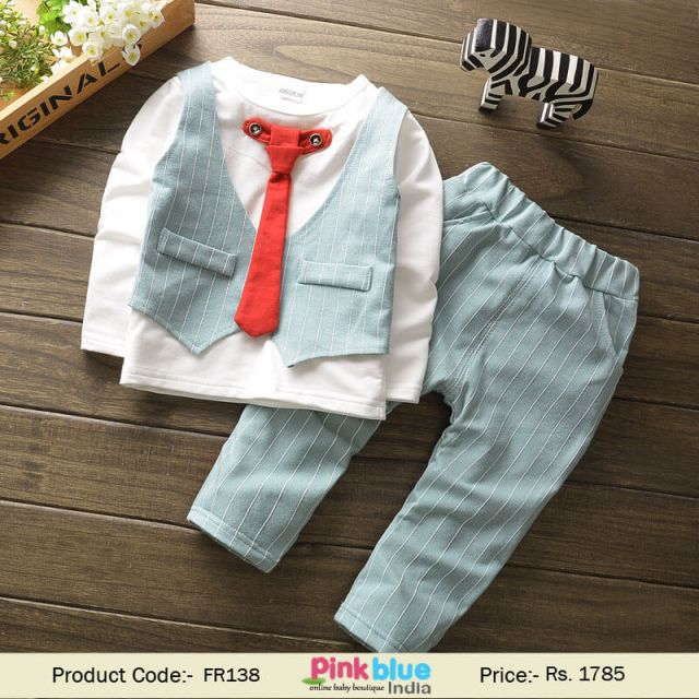 Boys Shirt Tie and Sea Green Waistcoat Sets - Baby Boy Occasions Wear