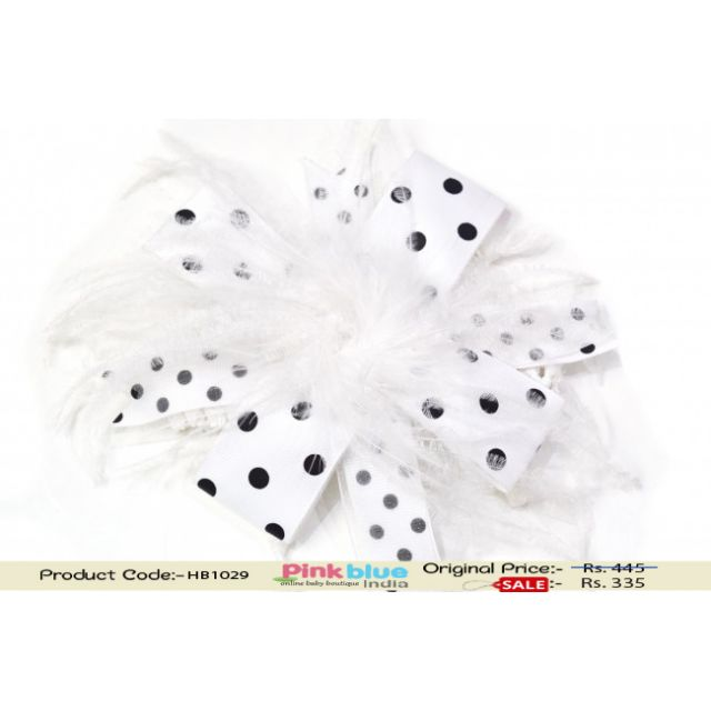 Beautiful White Ribbon and Feather Hair Clip with Black Dots for Kids