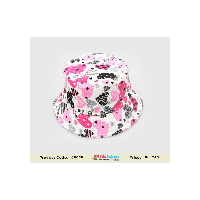 Shop Online White Sun Cap for Kids With Pink and Grey Hearts