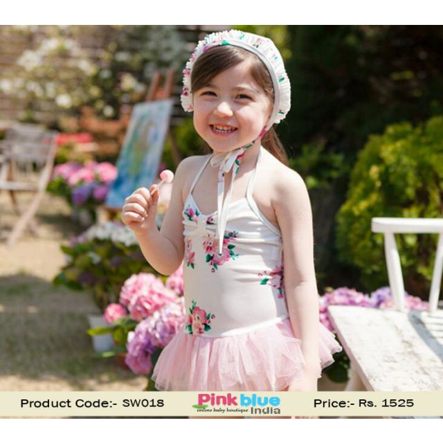 Kids Swimwear Costumes Girls White Flower Design