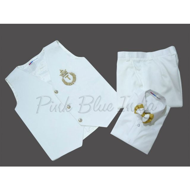 Baby Boy White Waistcoat Set, Kids Birthday Party Outfit