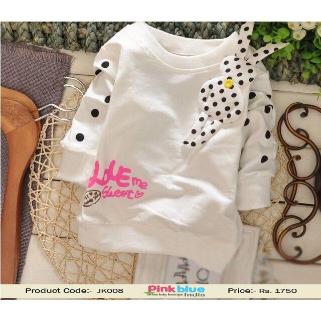 Little Girl Sweatshirt Love Me Sweet Print, Winter Sweatshirt for Kids baby India