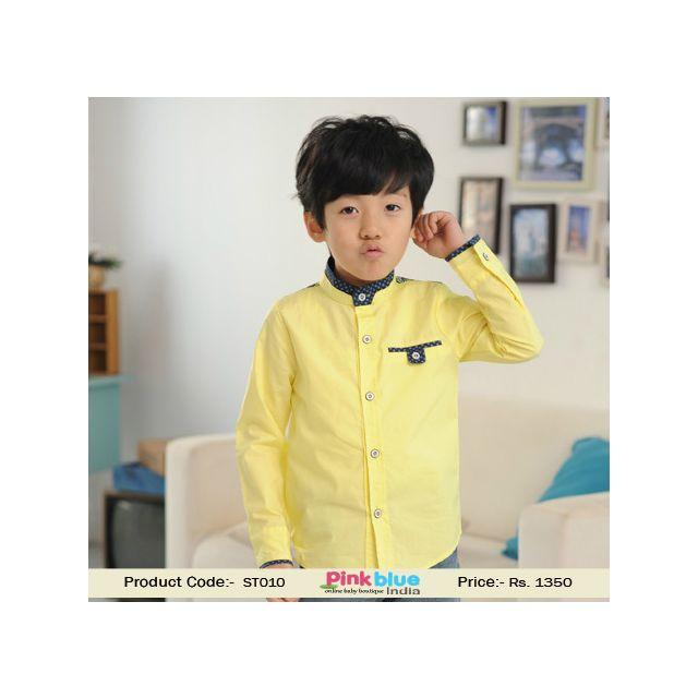 yellow boys formal shirt