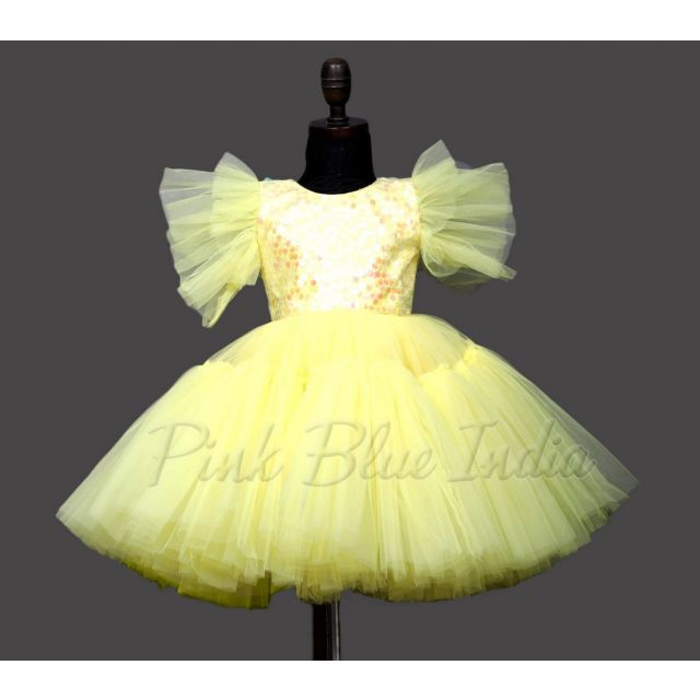 Girls Yellow Party Wear Gown Dress, Sequin 1st Birthday Boutique Gown
