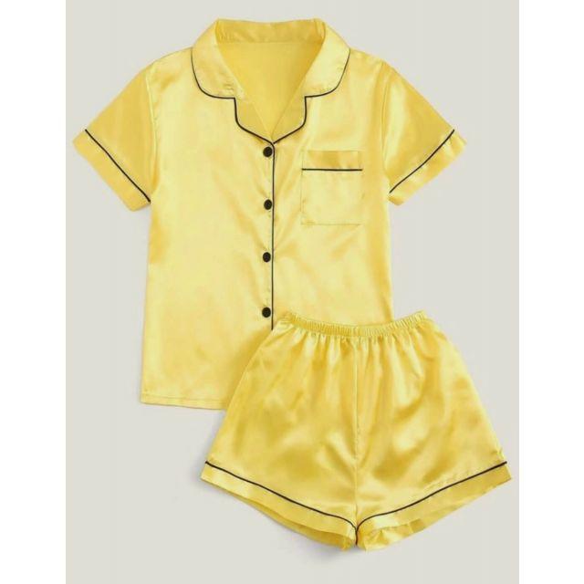 Yellow Satin Kids Night Suit, Baby Night Wear Dress Online
