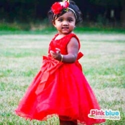 Red Baby Girl Party wear and wedding Frock