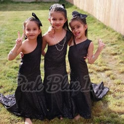 Black Sequin Girls Fish Cut dress real customer pictures