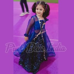 Girls Blue Lehenga for Indian Wedding