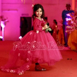 Pink Party Wear Baby Ball Gown