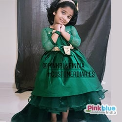 Green High low dress for Baby Girl