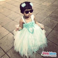 Party wear Sea Green and Off-white tutu dress