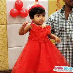 Little Girl Red Birthday Party Dress